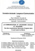 La communication et l'économie sociale et solidaire: cas des coopératives féminines d'argane dans le sud-ouest du Maroc