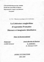 La littérature maghrébine d'expression Française