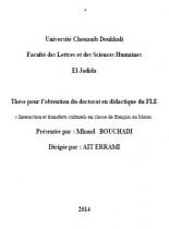 Interaction et transferts culturels en classe de français au Maroc