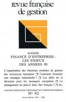Finance d'entreprise : les enjeux des années 90